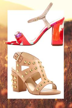 Floral Sandal with Jewel Embellishments, KATE SPADE (Available at Bloomingdales), $375; Tan Leather Studded Sandal, ISA TAPIA (Available at Bloomingdales), $395   - Cosmopolitan.com
