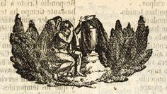 Xilografía de un ángel llorando ante una urna funeraria.