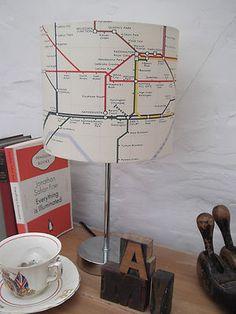 Lampshade Handmade in Vintage Retro London Underground Map