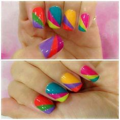 Gorgeous Nail Art With Colorful Diagonal Stripes!