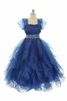 Girls Dress Style 0329 - Sleeveless Ruffle Organza Dress with Matching Bolero in Choice of Color $61.99