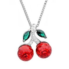 Sterling Silver Red Cherries Pendant-Necklace made with Swarovski Crystals -- Hurry! Check out this great product : Jewelry Necklaces