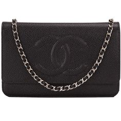 Pre-Owned Chanel Black Caviar CC Wallet On Chain (WOC) ($3,200) ❤ liked on Polyvore featuring bags, handbags, black, real leather handbags, black handbags, genuine leather purse, black leather handbags and multi colored leather handbags