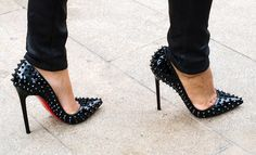 Christian Louboutin spiked pointy toe pumps