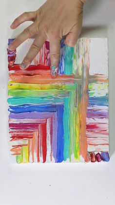 Mesmerizing Acrylic Finger Painting by Josie Lewis - Art - Using acrylic paint and fingers to create rainbow stripe painting. See more at Josie& Instagr - Using Acrylic Paint, Acrylic Painting For Kids, Canvas Painting Tutorials, Pour Painting, Painting Videos, How To Paint Canvas, Easy Acrylic Paintings, Splatter Paint Canvas, Canvas Painting Designs