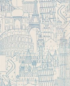 Globetrotter Blue (W0015/03) - Clarke & Clarke Wallpapers - An interpretation of famous land marks – with a hand-drawn quality to the image. Fun and quirky. Available in other colourways – shown in blue on a off white background. Please ask for sample for true colour match. Paste the wall product.