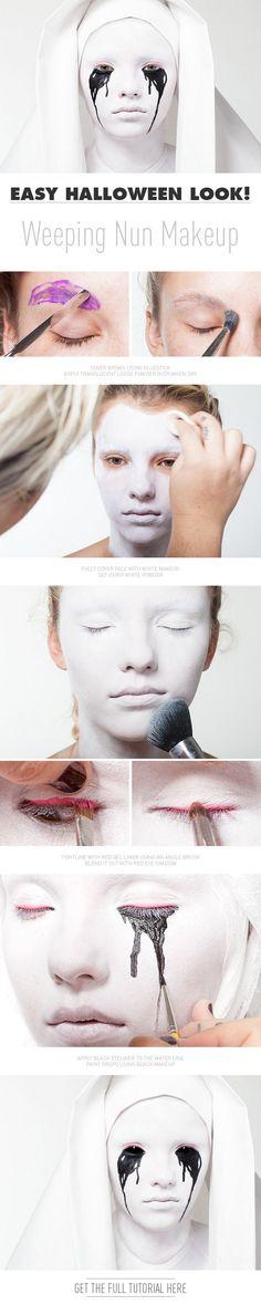 Simple Halloween Look! Weeping Nun Makeup | Beautylish blog spot.  Great Halloween costume makeup tutorial.  #halloween  #weepingnun  #makeup
