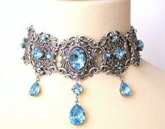 Aquamarine Swarovski Choker  More Colors  Victorian Bridal