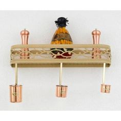 Hi-Lite Napa Wall Mounted Pot Rack Accent Finish: Copper Accents, Copper Insert: Yes, Base Finish: Powder Coat Rust