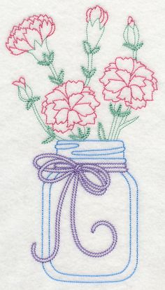 Blooming Carnations in Mason Jar (Vintage) design (L9379) from www.Emblibrary.com