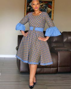 Blue puff sleeves vintage flare polka dot african print ankara plus size women dress, wedding dress, ankara gown, prom dress Yellow and green puff sleeves vintage flare polka dot african African Inspired Fashion, Latest African Fashion Dresses, African Dresses For Women, African Print Fashion, African Attire, Traditional African Clothing, Shweshwe Dresses, Puff Sleeves, Kitenge