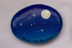 A stone painted with the night sky, and our lovely moon shining bright <3 Isn't it beautiful?