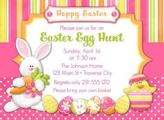 Easter bunny invitation printable easter egg hunt easter easter egg hunt invitation printable easter invitation stopboris Image collections