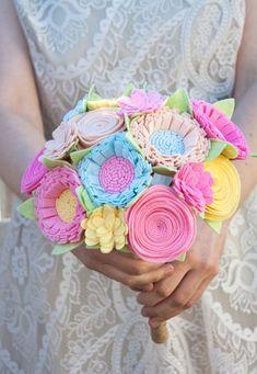 Spring Alternative Wedding Bouquet (made with felt) Felt Flower Bouquet, Fabric Bouquet, Felt Flowers, Diy Flowers, Fabric Flowers, Paper Flowers, Felt Diy, Felt Crafts, Wool Felt Fabric