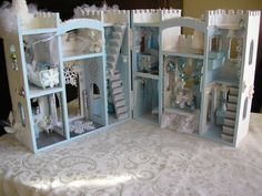 RESERVED for oregonjenn: A Frozen Dream House by josmund on Etsy (Art & Collectibles, Dolls & Miniatures, Dollhouses, christmas, enchanted, magic, frozen, ice age, elsa, castle, snow queen, snowflake, ice queen, white, blizzard)