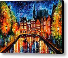 Amsterdam Canal Canvas Print / Canvas Art By Leonid Afremov