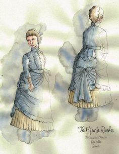 The Miracle Worker (Kate Keller). Costume design by Joscelyne Oktabetz. The Miracle Worker, Costume Design Sketch, Disney Characters, Fictional Characters, Sketches, Costumes, Disney Princess, Drawings, Inspiration