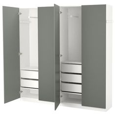 PAX Wardrobe, white, Reinsvoll gray-green, 78 This wardrobe combination is just as good looking on the outside as it is clever on the inside. Pax Corner Wardrobe, Pax Wardrobe, Wardrobe Storage, Wardrobe Ideas, Pax System, At Home Furniture Store, Modern Home Furniture, Tall Cabinet Storage, Locker Storage