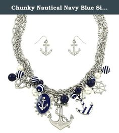 """Chunky Nautical Navy Blue Silvertone Anchor Helm Sea Boat Necklace and Earrings, 20+3"""" Extender. Anchor Necklace & Earring Set / Pearl / Rhinestone Crystal / Enamel / Rhodium Plated / Chain Length: 18"""" + 2""""ext / Lead Compliant."""