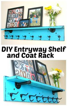 DIY Entryway Shelf and Coat Rack. Make this DIY Coat Rack with Shelf with this step-by-step tutorial. Diy Hat Rack, Coat Rack Shelf, Coat Racks, Coat Hanger, Entryway Shelf, Entryway Ideas, Entryway Decor, Room Shelves, Easy Home Decor
