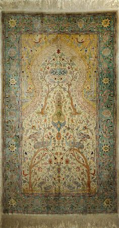 Hereke-Turkey, Pure Natural Silk Rug (140 x 183 cms) 676 Knots per square inch, Mid 20 Century.