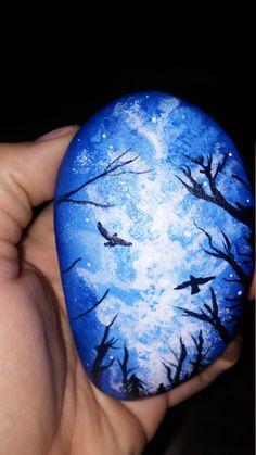 "beautiful hand painted rock ""Star Gazer"""
