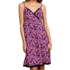 """Urban Renewal Sz M Floral Surplice Slip Lace Dress Urban Renewal sold by Urban OutfittersNew without tags Surplice spaghetti strapLace detailsFloralSide zipBust 34-36""""Length 42""""Slip dress Urban Outfitters Dresses"""