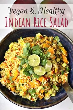 Vegan Indian Rice Salad with Mango-Lime Dressing - Indian Rice Salad with . - Vegan Indian Rice Salad with Mango-Lime Dressing – Indian Rice Salad with Mango-Lime Dressing – - Indian Food Recipes, Healthy Recipes, Ethnic Recipes, Rice Salad Recipes, Side Dishes For Salmon, Spiced Rice, Mango Salad, Vegan Curry, Lime Dressing
