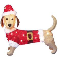 "Christmas Decor 20"" Sparkling Burlap Dachshund Light Sculpture Outdoor Decor #HolidayTime"