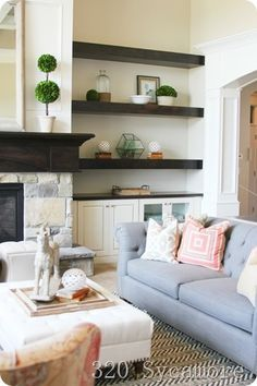 Built ins with floating shelves
