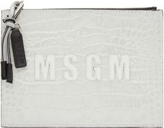 MSGM - Off-White Croc-Embossed Leather Pouch