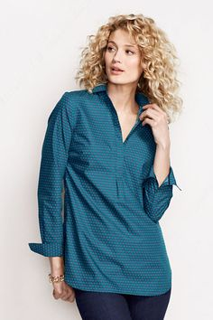 Women's Pattern No Iron Popover Tunic from Lands' End
