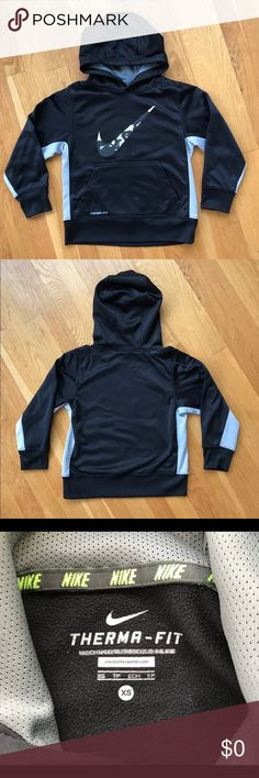 ✔️Boy's NIKE Hoodie Black with gray on the sides. Swoosh has both black and gray along with a neon yellow color. Hoodie has some minor flaws, NOTE LAST PICTURE. Swoosh has a little peeling, small piling and a light mark on one sleeve, faint marking on the lower back on the hem area. By looking at it these flaws are not obvious unless you are actually looking for them. Over all good condition. PRICE IS REFLECTED BECAUSE OF THIS. Nike Shirts & Tops Sweatshirts & Hoodies