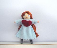 Girl Bendy Doll with Heart Dress by Bendy Heaven Dollhouse Doll Worry Doll Pocket Doll