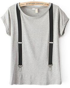 Strap Print Grey T-Shirt