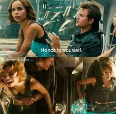 Christina Caleb & Tris in Allegiant Divergent Memes, Divergent Hunger Games, Divergent Fandom, Hunger Games Humor, Divergent Trilogy, Tfios, Movie Memes, Book Memes, Insurgent