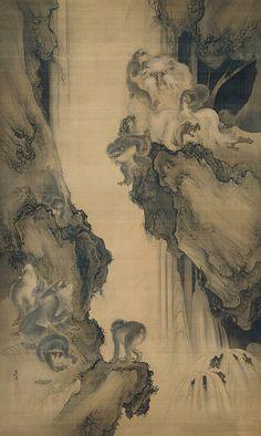 Wonderful sumi-e (black ink paintings) of monkeys and waterfall. Thanks @Cheryl 1109.