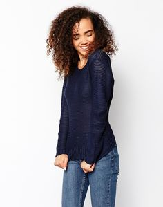 Jumper by Vero Moda Lightweight loose knit Semi-sheer finish Crew neckline Drop shoulder seams Ribbed trims Regular fit - true to size Machine wash 100% Acrylic Our model wears a UK S/EU S/US XS