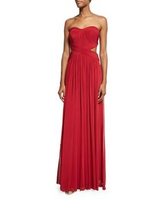 La Femme Strapless Pleated Cutout Gown, Deep Red