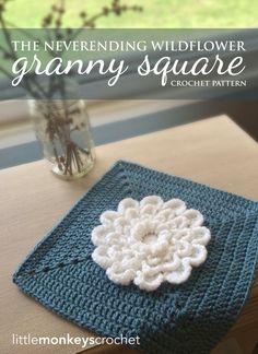 The Never Ending Wildflower Granny Square Crochet Pattern | Free Crochet Pattern by Little Monkeys Crochet (www.littlemonkeyscrochet.com)