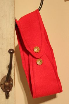 Red Fleece Ear Warmer with Wooden Buttons by JamieGregoryHandmade