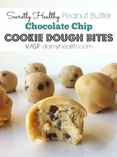 Secretly Healthy Peanut Butter Chocolate Chip Cookie Dough Bites | DAMY Health (I would use almond butter)