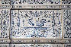 Large antique stove with blue decor enamels on white background #grotesque #decor #fireplace #antique #19thcentury Available on #MarcMaison website