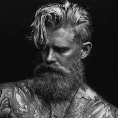 Messy Medium Length + Undercut + Long Full Beard