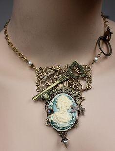 Steampunk brass key necklace by pinkabsinthe on Etsy, $35.00