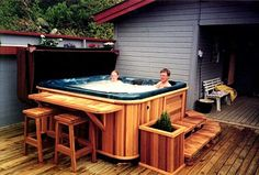 Cedar Hot Tub is now Retro, apparently! Cedar Hot Tub is now Retro, apparently! Jacuzzi Outdoor, Outdoor Spa, Hot Tub Backyard, Backyard Patio, Garden Pool, Hot Tub Bar, Hot Tubs, Piscina Diy, Home Decor Ideas