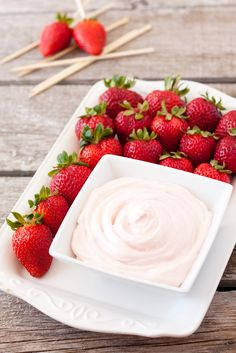 Three Ingredient Fruit Dip (A 60 Second Recipe) or make with regular cream cheese, marshmallow creme, and 1 t. vanilla (drop or two of red food coloring can be added to make it pink)