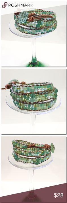 """Handmade 3 Wrap Bracelet A beautiful 3X wrap bracelet made in Chan Luu style with 6.0 Czech glass seed beads in green mix and larger accent beads Each bead is hand stitched to 1.5 mm natural leather cord .  A Button is used for closure and adds a beautiful accent. two loops offer adjustable closure. Finished length to first loop is 21"""" and 22"""" to second loop Extra loop can be snipped off if not needed. Handmade Jewelry Bracelets"""