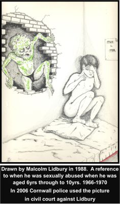 One of Lidburys drawings 1988 is reference to him having been multiply raped by multiple persons when he was a 6-10 yr old (1966-1970).  In 2006 Devon & Cornwall police used the drawing AGAINST Lidbury in a Civil court action. #LGBT  http://www.lgbthistorycornwall.blogspot.com