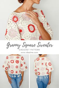Granny Squares are perfect for crafting festival clothing that's going to stun… Diy Crochet, Crochet Crafts, Crochet Projects, Crochet Cardigan Pattern, Granny Square Crochet Pattern, Crochet Granny, Granny Square Sweater, Knitting Patterns, Crochet Patterns